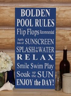 wood pool signs | pool rules wood sign outdoor decor custom family name pool rules wood ...