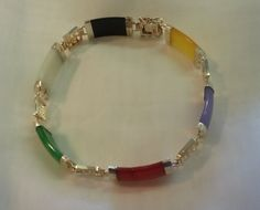 Sterling Silver  Multi Color Created Jade by TracyBDesignsAZ, $49.00