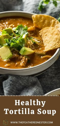Tortilla soup is a healthy and fresh meal you'll love. The crisp of the chips, the creaminess of the avocado, and the spice of the broth is the perfect combination of flavors. It is a great soup for every season. Easy Cheap Dinner Recipes, Easy Recipes, Chowder Recipes, Healthy Comfort Food, Tortilla Soup, Healthy Soup Recipes, Weeknight Meals, Soups And Stews, Slow Cooker Recipes