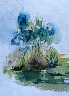 Trees in three colours (watercolour sketch)