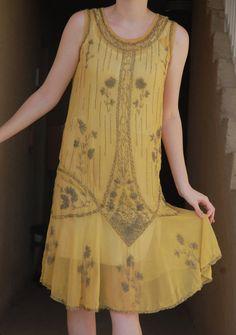 1920s Yellow Glass Beaded Dress