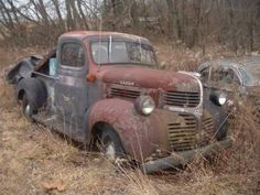 1947 Dodge Pickup Truck in West Central Illinois left in the weeds. Classic Car Sales, Buy Classic Cars, Classic Trucks, Antique Trucks, Vintage Trucks, Old Trucks, Farm Trucks, Antique Cars, Rat Rods