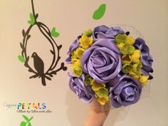 Lilac/Purple Ribbon Roses with wild yellow/green silk flowers, Handmade on Etsy, £30.00
