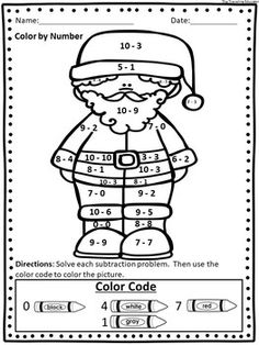 Christmas Addition and Subtraction Easy Prep Worksheets Christmas Color By Number, Christmas Colors, Christmas Cards Drawing, Number Words, Number Worksheets, Free Christmas Printables, Primary Classroom, Addition And Subtraction, Free Coloring Pages