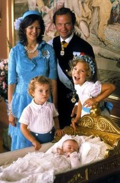 Christenings-Princess Madeleine of Sweden with Queen Silvia, King Carl Gustaf, Prince Carl Phillip and Crown Princess Victoria