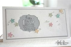 Bring On The Cake stamp set, Labels Collection framelits, and the stars are punched with the Merry Minis punch pak on Silver Glimmer paper that's been pressed into individual ink pads to color the paper. So sparkly!