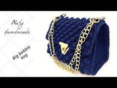 Crochet Bobble, Baby Blanket Crochet, Hand Crochet, Crochet Lace, Crochet Stitches, Crochet Hooks, Black And White Baby, Crochet Handbags, Women's Handbags