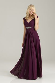 Romantic Purple $ - $150 and under A-line Allure Bridesmaids Beading Cap Sleeve Chiffon Country Floor Garden Natural Ruching V-neck Vineyard Wedding Bridesmaids Photos & Pictures - WeddingWire.com