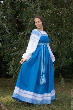 Одежда ручной работы. Ярмарка Мастеров - ручная работа. Купить Народный костюм. Handmade. Синий, русский стиль, лён