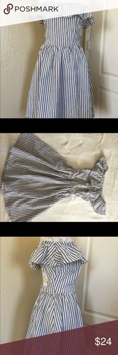 """Striped Off the Shoulder Ruffle Open Back Dress Striped Off the Shoulder Ruffle Open Back A-line Dress. Bust stretches up to 42"""". Length 33"""". Waist 31"""" stretched. Dresses Asymmetrical"""