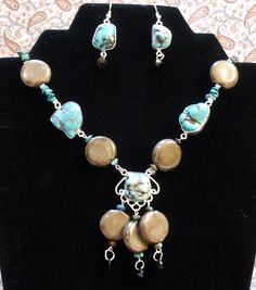 """Chloe's Creations Item 285- 19"""" Turquoise & Porcelan Necklace With Earrings. by JewelryMadeByChloe on Etsy"""