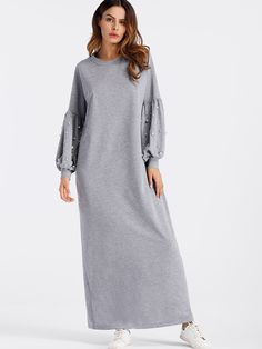 Shop Lantern Sleeve Pearl Beaded Full Length Dress at ROMWE, discover more fashion styles online. Trendy Dresses, Simple Dresses, Trendy Outfits, Casual Dresses, Nyc Dresses, Abaya Fashion, Fashion Dresses, Ootd Fashion, Shift Clothing