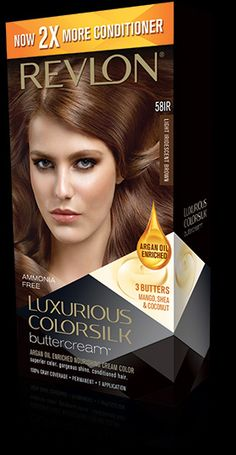 Revlon® Luxurious ColorSilk Buttercream™. AMMONIA-FREE, NOURISHING CREAM COLOR. My Shade: 58IR LIGHT IRIDESCENT BROWN.