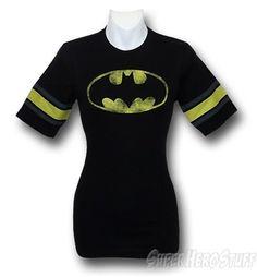 Batgirl Jr Womens Distressed Athletic T-Shirt @ Superhero Stuff, $23.99