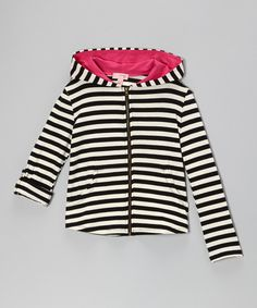 Take a look at this Black & Ivory Stripe Zip-Up Hoodie I bought at zulily today!