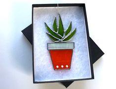 Aloe Vera Cacti Stained Glass Suncatcher Home Decor, Window Ornament, Garden Decoration by MrBrinkleysStudio on Etsy