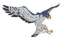 Peregrine Falcon by faithandfreedom on DeviantArt Bird Drawings, Cartoon Drawings, Animal Drawings, Cartoon Art, Wings Drawing, Peregrine Falcon, Animal Sketches, Animal Design, Cartoon Styles