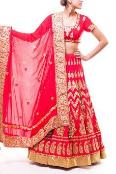 Red Aari Work Bridal Lehenga