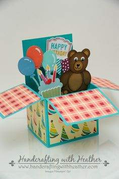 Birthday Basics Card in a Box by hvanlooy - Cards and Paper Crafts at Splitcoaststampers Card In A Box, Pop Up Box Cards, 3d Cards, Cute Cards, Stampin Up Cards, Card Boxes, Fancy Fold Cards, Folded Cards, Exploding Box Card