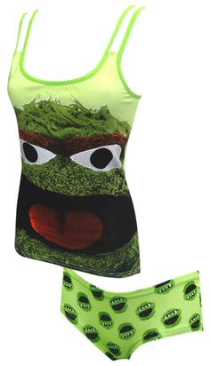 Sesame Street Oscar The Grouch Camisole and Hipster Set Perfect for those grouchy days! These 95% cotton, 5% spandex camisole a...