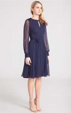 Silk double georgette cocktail dress: Sabitri | Beulah London