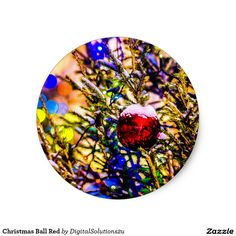 Christmas Ball Red Classic Round Sticker