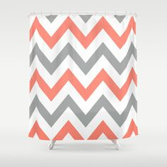 grey and coral shower curtain.  Grey and Coral Chevrons Shower Curtain chevron Gray