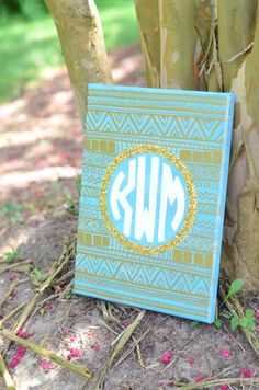 Custom Monogram Glitter Aztec Canvas Art by xoxoKaitlynMarie on Etsy  Perfect for college dorm or nursery