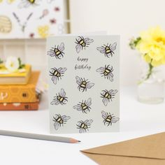 Happy Birthday Greeting Card, Birthday Cards, Buzz Bee, Green Backgrounds, Biodegradable Products, Your Cards, Lovers, Gifts, Bday Cards