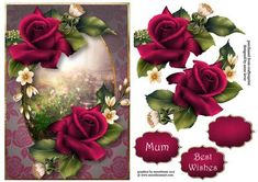 Deep Pink Velvet Roses A5 on Craftsuprint designed by Anne Lever - This lovely A5 topper features gorgeous deep pink roses. It has decoupage, two greetings and a blank greetings tile. - Now available for download!