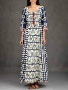 Beige-Indigo Natural Dyed Ajrakh-Printed Flared Cotton Long Dress with Pockets