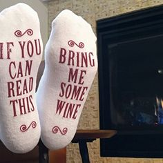 "Luxury Combed Cotton ""Bring Me Some Wine"" Socks – Perfect Hostess or White Elephant Gift Idea, Birthday Present, or Novelty Gift Idea for a Wine Enthusiast. Lavish brushed cotton will keep your feet toasty warm. Fits US sizes 6 to 12. Lovable non-slip plan: If you can read this, present to me some wine. Staggeringly Comfortable, you need to feel them to trust it! Consummate entertainer or housewarming present, birthday introduce, present for a wine sweetheart, cute gift, or present for…"