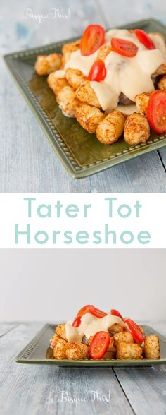 Made this last night - it's SO good! Tater Tot Horseshoe Topped With Tomatoes.