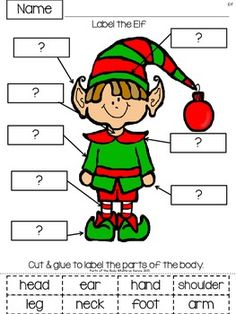 SANTA AND HIS ELF LABELING: FREE PARTS OF THE BODY ACTIVITIES - TeachersPayTeachers.com