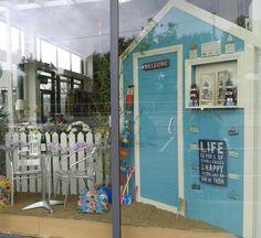 Summer 2014 Beach Hut Window display, Bandon Co Op Kinsale www. Outdoor Painting, Home And Garden Store, Summer 2014, Painting Inspiration, Windows, Display, Building, Beach, Shop