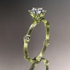14k  yellow gold diamond vine and leaf wedding ring,engagement ring......
