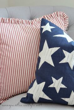 All American Summer Guest Room, patriotic decor, 4th of July decor, red white and blue, Pottery Barn pillows, French Laundry Home pillow, stars and stripes