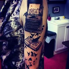 typewriter book and crows by nic rummel at Brut Tattoo in Charlotte, NC Unique Half Sleeve Tattoos, Half Sleeve Tattoos Designs, Full Sleeve Tattoos, Tattoo Designs And Meanings, Tattoos With Meaning, Half Sleeve Tattoo Template, Full Sleeve Tattoo Design, Baby Tattoos, Tattoos For Guys