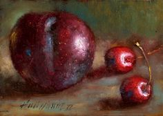 Plum with Cherries, Classical Fruit 5 x7 Original Oil panel HALL GROAT II, painting by artist Hall Groat II