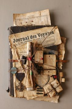 Assemblage by J. A book doesn't just have to hold pages between its covers. and it all doesn't have to be between the covers. Mixed Media Collage, Collage Art, Altered Books, Altered Art, Paper Art, Paper Crafts, Found Object Art, Assemblage Art, Handmade Books