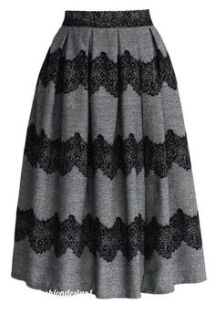 Lace Trimmed Pleated Twill Midi Skirt - Skirt Buy 1 Get 1 HALF - Skirt - Bottoms - Retro, Indie and Unique Fashion Led Dress, Dress Skirt, Dress Up, Skirt Pleated, Gray Skirt, Midi Skirts, Modest Outfits, Skirt Outfits, Cute Outfits
