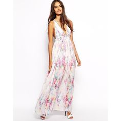 Oh My Love Plunge Neck Maxi Dress in Print (3.590 RUB) found on Polyvore