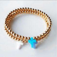 Bracelets By Vila Veloni Pellets With Small Cross