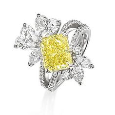 A fancy coloured diamond and diamond ring Silver Jewellery Online, Fine Jewelry, Yellow Engagement Rings, Yellow Jewelry, Jewelry Sites, Colored Diamonds, Yellow Diamonds, Hogwarts, Beautiful Rings