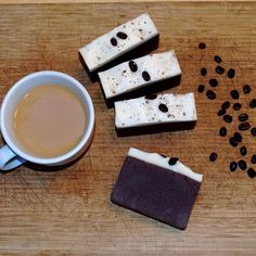 A little coffee soap to start you off, made with French Roast coffee, with some added grounds to exfoliate while it detoxifies your skin. Colored with organic, fair trade cocoa powder, this one smells as rich as it looks. #coffee #mainemade #maine #soapshare #soapmaking #mainenaturals #allnatural #artisansoap