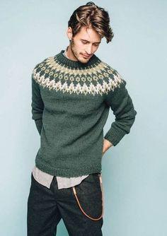 Nord Mens pullover pattern by Sandnes Design Male Sweaters, Wool Sweaters, Men Sweater, Pullover Design, Sweater Design, Sweater Knitting Patterns, Knitting Designs, Norwegian Knitting, Icelandic Sweaters