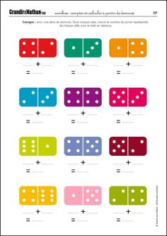 Maths – CP – Counting and calculating from dominoes - Kindergarten Math Worksheets, 1st Grade Worksheets, Kindergarten Lesson Plans, Preschool Learning Activities, 1st Grade Math, Teaching Kids, Kids Learning, Math Addition, Math For Kids