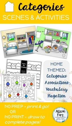 Target home themed categories, associations, vocabulary, and negation with this NO PREP, print and go activity!  You can also use this as a NO PRINT activity by opening on your computer or tablet. Complete all activities by drawing on the screen.