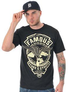 Famous Stars and Straps Black Bone Union Badge T-Shirt | Famous ...
