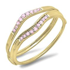 0.12 Carat (ctw) 10K Yellow Gold Round Pink Sapphire Anniversary Enhancer Guard Wedding Band (Size 9). Other ring sizes may be shipped sooner. Most rings can be resized. Items is smaller than what appears in photo. Photo enlarged to show detail. Satisfaction Guaranteed. Return or exchange any order within 30 days. Color may varies from photo. Gemstone : Pink Sapphire.